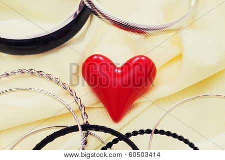 Red Valentine Heart With Various Bracelets