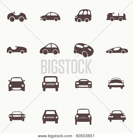 Cars Icons Set. 16Different Vector Car Forms.