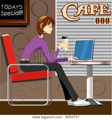 Woman with laptop in coffee shop