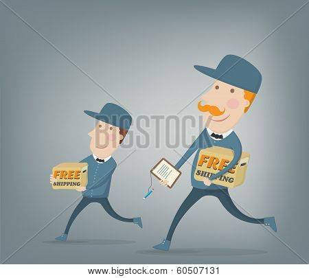 Free Shipping. Two Couriers Delivering  Packages