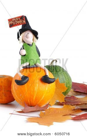 Figurine Of A Witch And Pumpkin