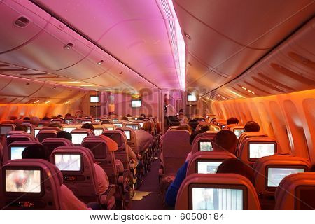 DUBAI - SEPTEMBER 26, 2013: Emirates Boeing 777 interior on September 26, 2013 in Dubai, UAE. Emirates is the largest airline in the Middle East
