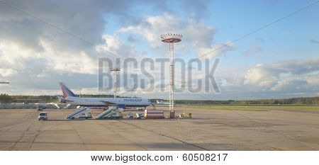 MOSCOW, RUSSIA - SEPTEMBER 26, 2013: Transaero jet aircraft in Domodedovo airport of Moscow on September 26, 2013. Transaero began as a charter airline with aircraft leased from Aeroflot
