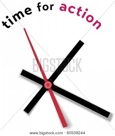 Hour minute second Hands on a clock face tell time for action