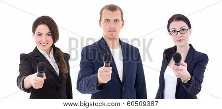 News Reporters Or Journalists Interviewing A Person Holding Up The Microphones Isolated On White