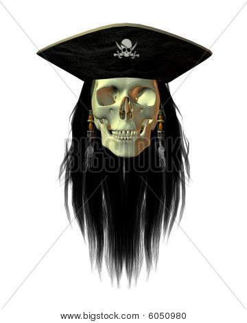 Pirate skull with long hair