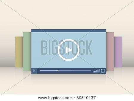 minimalistic illustration of a video player interface, eps10 vector
