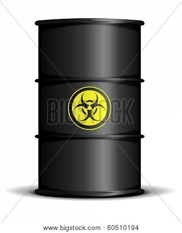 detailed illustration of a bio hazard waste barrel, eps10 vector