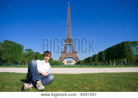 Young Man Lying On The Champs De Mars