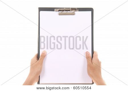 Female Hand Holding And Showing Blank Clipboard