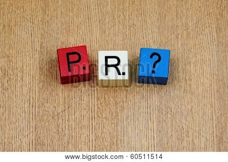 Pr, Sign Series for Business and Public Relations.