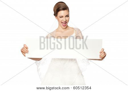 Smiling Bride With Advertising.