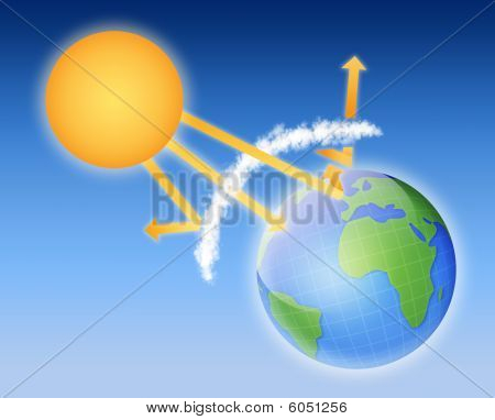 Earth Athmosphere With Sun Lights. Global warming theme