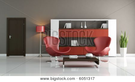 Red And Brown Modern Living Room