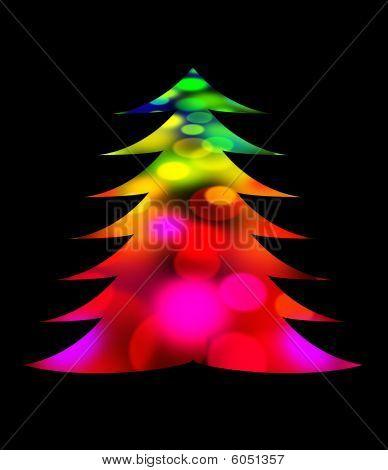 Colorido árbol de Navidad contra negro