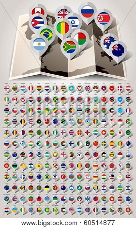 Map world 192 markers with flags