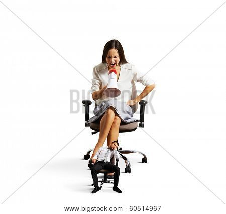 businesswoman screaming at tired small businessman over white background