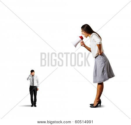 dissatisfied woman screaming at small stressed man. isolated on white background