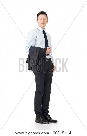 Young Asian businessman hold coat and go off work, full length portrait isolated on white background.