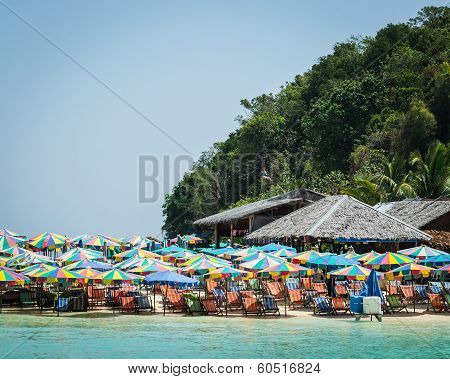 Colorful Umbrellas On Khai Island