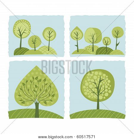 Spring Trees Set
