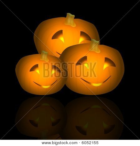 Halloween Pumpkin Trio Reflected