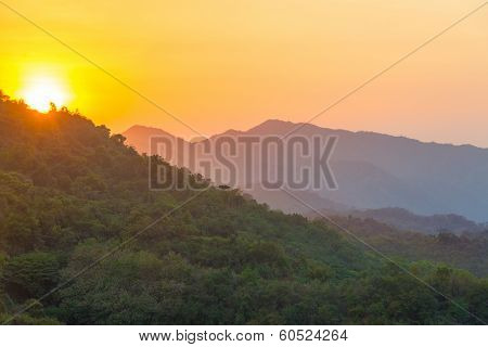 Sunset Over Hills
