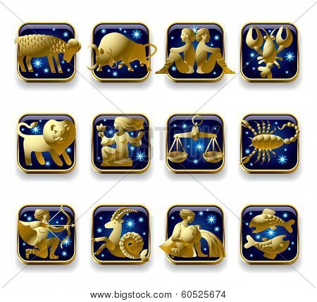 Isolated raster version of vector set of dark blue icons with gold zodiacal signs with figure, symbols and stars against a white background (contain the detailed Clipping Path)