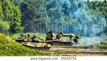 Tank T-80, engineering vehicle move