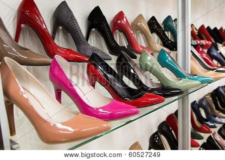 Rows Of Beautiful Women's Shoes On Store Shelves