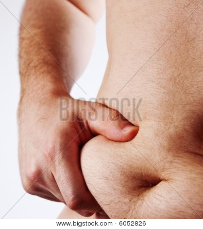 Man Holding His Fat Belly Isolated On White