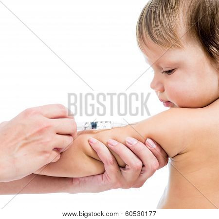 Doctor Vaccinating  Baby Isolated On A White Background