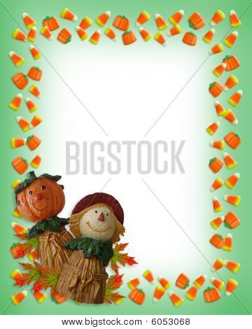 Halloween Border Candy pumpkin scarecrow
