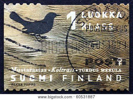 Postage Stamp Finland 1998 Common Blackbird, Bird