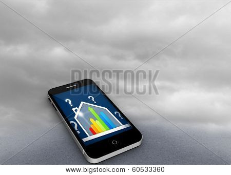 Composite image of ber rating house on smartphone screen against cloudy dull sky