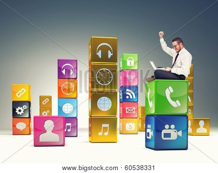 man on  abstract cubes and icon set