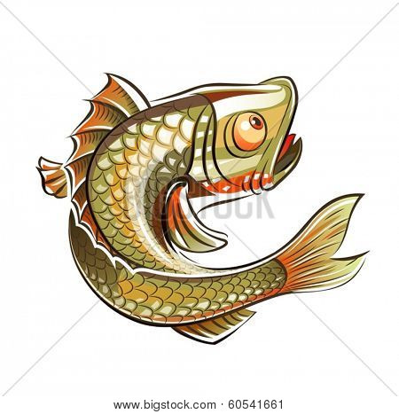 Fish. Eps10 vector illustration. Isolated on white background