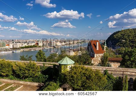 Panorama Of Budapest With Elizabeth Bridge, Danube And Gellert Hill
