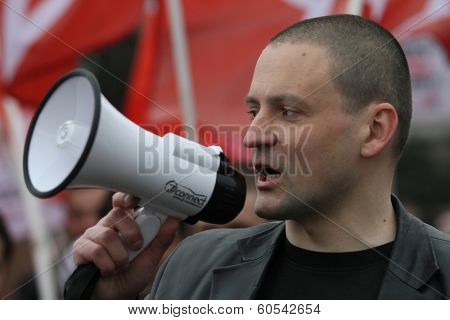 MOSCOW - MAY 1, 2011: Leader  of the Left Front movement Sergei Udaltsov in marsh leftist in the center city. One of leaders of the protest movement in Russia. From Feb 9, 2013 is under house arrest.
