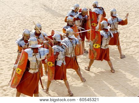 Jordanian men dress as Roman soldier