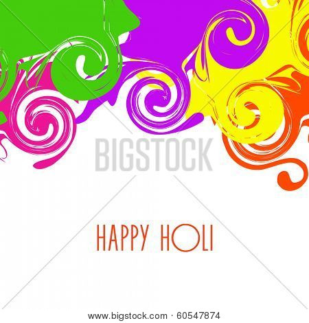 Indian festival Happy Holi celebrations with beautiful colours splash on grey background.