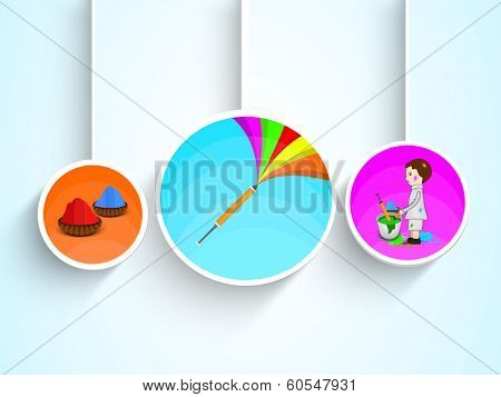 Indian colour festival Happy Holi celebrations hanging sticker, tag or label set on blue background.