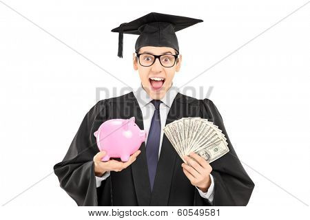 Male student holding money and a piggybank isolated on white background