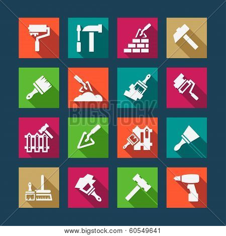 flat construction and repair icons
