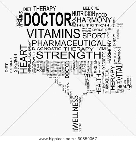 Conceptual black tree made of health and doctor text as wordcloud isolated on white background