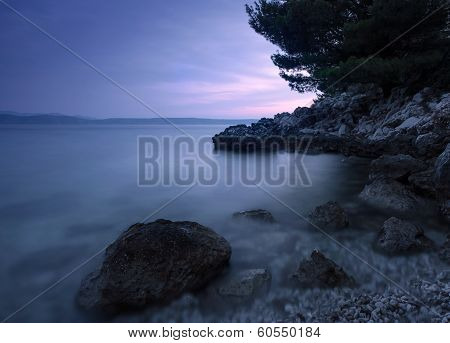 Adriatic sea coast at night