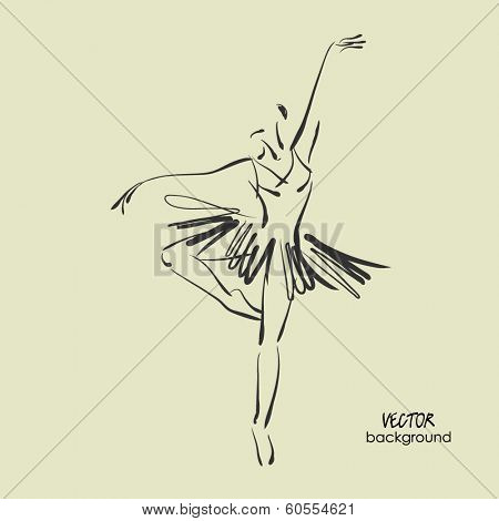 art sketched beautiful young ballerina in ballet dance on studio