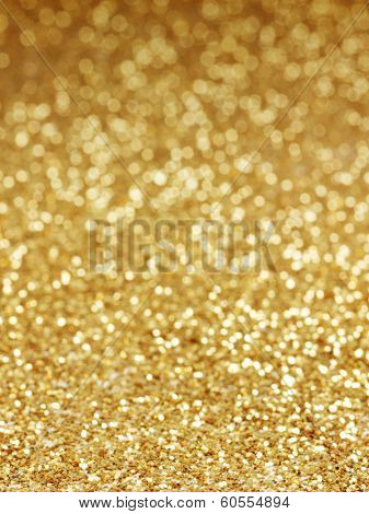 golden background of defocused abstract lights. golden bokeh lights.