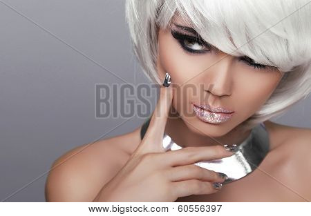 Stare. Fashion Blond Girl. Beauty Portrait Sexy Woman. White Short Hair. Isolated On Grey Background