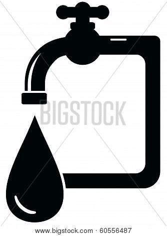 black isolated icon faucet